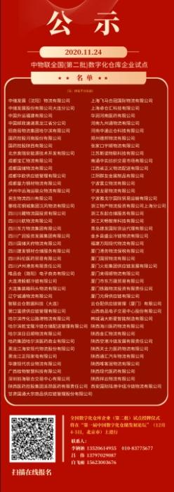 中物联全国(第二批)数字化仓库企业试点企业名单